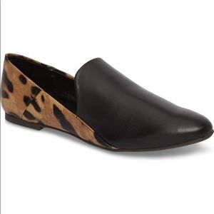 Leopard Leather Color-block Polished Flat Loafers